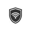 Shield icon. WiFi sign. Vector illustration. Protectoin sign. Flat design. Grey on white background.