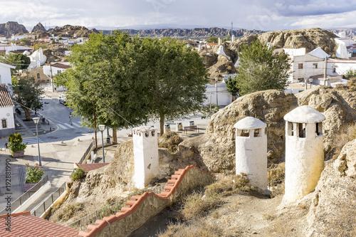 Aluminium Beige view over Barrio de las Cuevas neighborhood at Guadix city, province of Granada, Spain