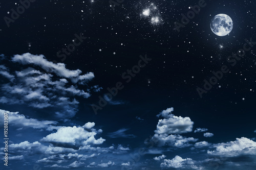 Plexiglas Nasa background night sky with stars and moon. Elements of this image furnished by NASA