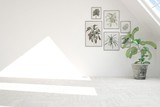 White empty room with green pictures on a wall and flower. Scandinavian interior design. 3D illustration - 192884399