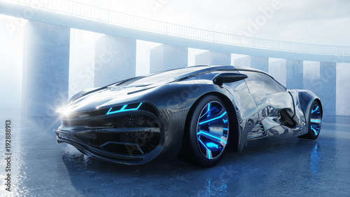black futuristic electric car on seafront. Urban fog. Concept of future. 3d rendering. - 192888913