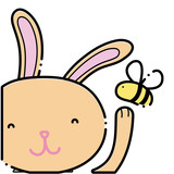Color Cartoon Rabbit  Bee Insect Flying Wall Sticker