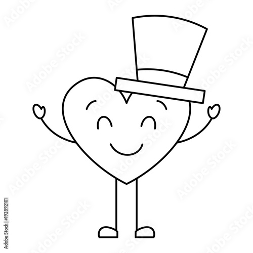 cute cartoon heart in love wearing top hat romantic vector illustration thin line image - 192892101