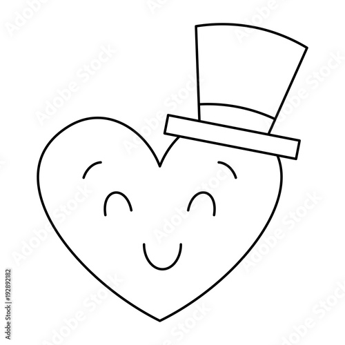 cute heart love with top hat cartoon vector illustration thin line image - 192892182