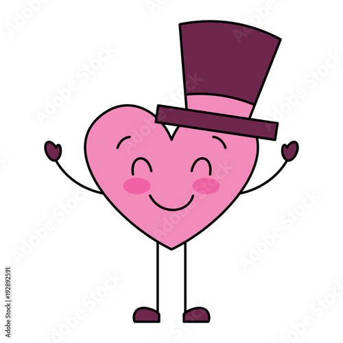 cute cartoon heart in love wearing top hat romantic vector illustration - 192892591