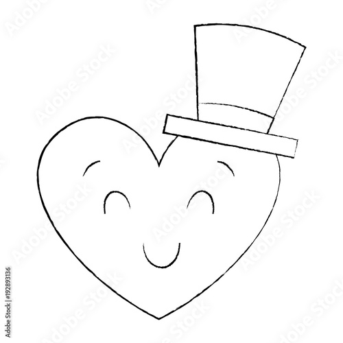 cute heart love with top hat cartoon vector illustration sketch image - 192893136