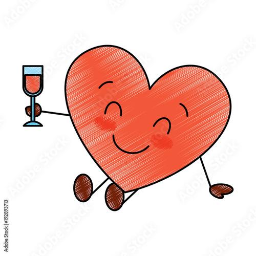 cute cartoon heart in love wearing top hat romantic vector illustration drawing image - 192893713