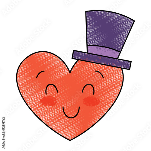 cute heart love with top hat cartoon vector illustration drawing image - 192893762