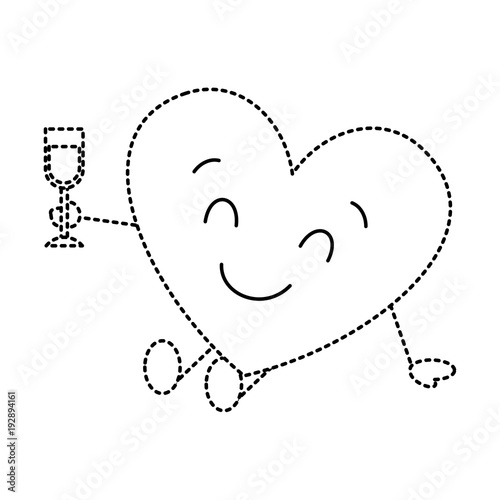 cute cartoon heart in love wearing top hat romantic vector illustration dotted line image - 192894161