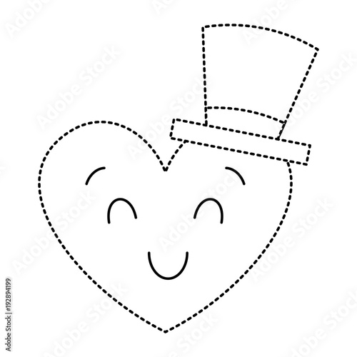 cute heart love with top hat cartoon vector illustration dotted line image - 192894199