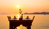 coffee table on the beach - 192894505