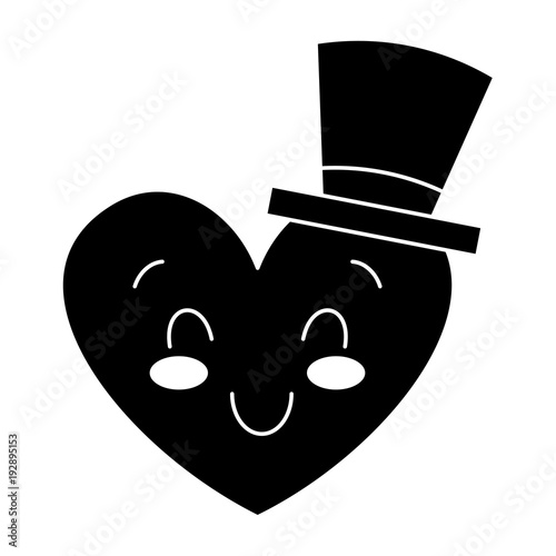 cute heart love with top hat cartoon vector illustration black and white image - 192895153
