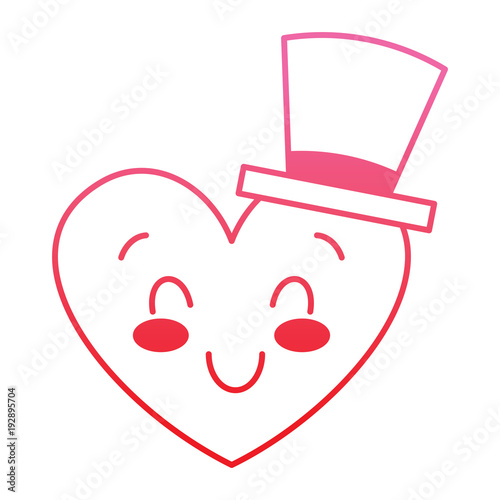 cute heart love with top hat cartoon vector illustration degrade red line image - 192895704