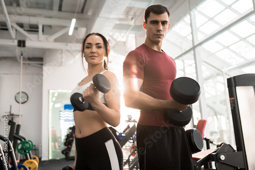 Fototapeta Waist up portrait of fit sportive couple posing with dumbbells looking at camera in modern gym