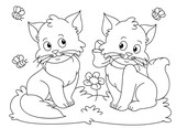 Funny cats coloring book vector - 192898739