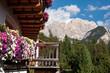 Landscape view with flower balcony of Unesco World Heritage site Dolomiti, Alta Badia, Italy
