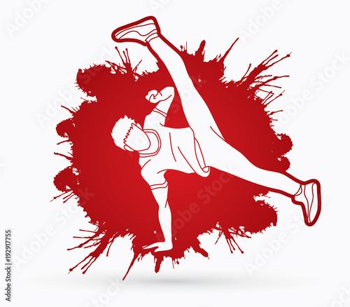 Street dance, B boys dance, Hip Hop Dancing action designed on splatter ink background graphic vector