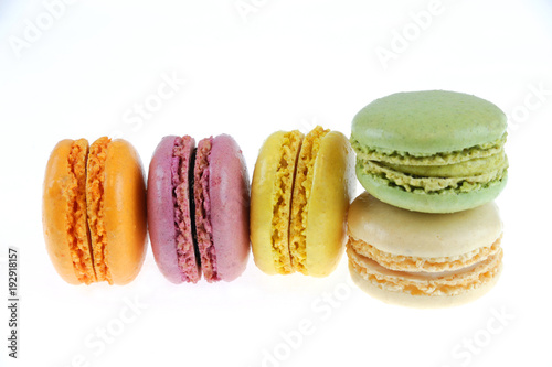 Foto op Aluminium Macarons Colorful macarons isolated on the white background