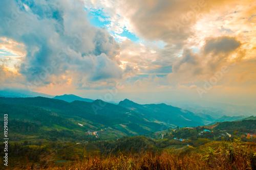 Papiers peints Bleu vert high mountains peaks range clouds in fog scenery landscape national park view outdoor at Chiang Rai, Chiang Mai Province, Thailand