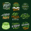 Happy St Patrick Day greeting lettering and clover