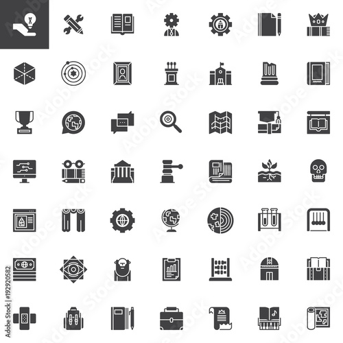 Knowledge vector icons set, modern solid symbol collection, filled style pictogram pack. Education signs, logo illustration. Set includes icons as anthropology, chemistry, geography, engineering