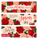 Flower greeting banner for Mother Day design
