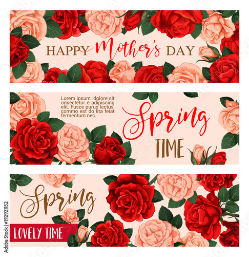 Sticker Flower greeting banner for Mother Day design