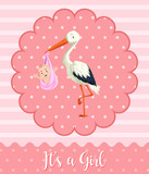 Stork baby on pink background - 192923745
