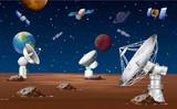 Satellites orbitting around the planet - 192923765