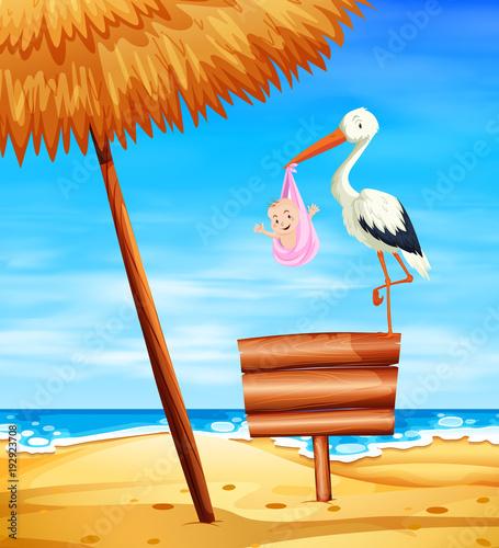Fotobehang Blauw Stork baby delivering baby girl with ocean in background