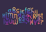 Vector lowercase modern alphabet. Rounded fluid gradient font for logotype creation. - 192924501