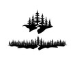 Pine Forests with River Illustration Hand Drawing Symbol Logo Vector