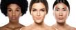 Leinwanddruck Bild - Different ethnicity women - Caucasian, African, Asian.