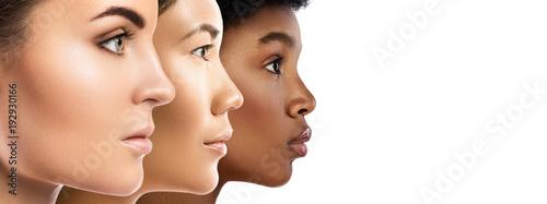Różne kobiety pochodzenia etnicznego - kaukaska, afrykańska, azjatycka.