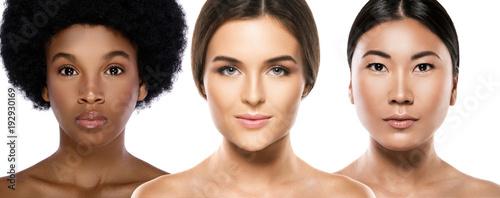 Leinwanddruck Bild Different ethnicity women - Caucasian, African, Asian.