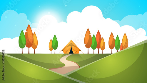 Poster Cartoon landscape. Tent, tree, hill grass illustration Vector eps 10