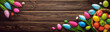 Easter Eggs and Decorative Tulips on Dark Wooden Background