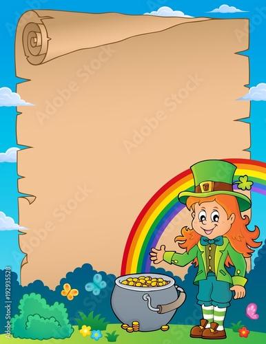 Foto op Canvas Voor kinderen Leprechaun girl theme parchment 1