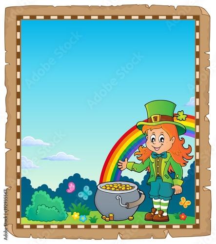Foto op Canvas Voor kinderen Leprechaun girl theme parchment 2