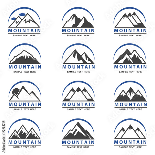 collection of twelve mountain icons for travel business