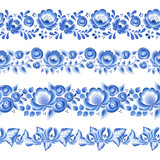 Blue flowers floral russian porcelain beautiful folk ornament. - 192937987