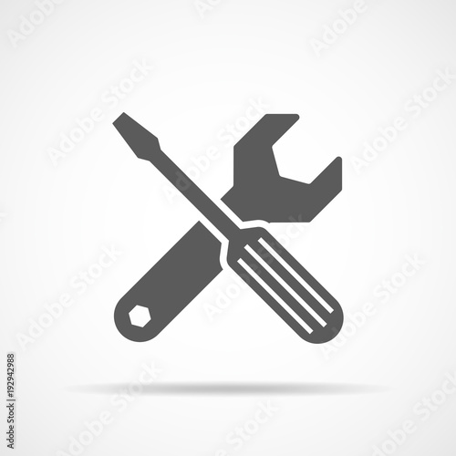 Wrench and screwdriver icon. Vector illustration
