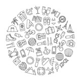 round design element with traveling icons - 192945154