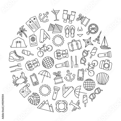 round design element with traveling icons