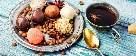 Chocolate candy and coffee © nikolaydonetsk