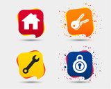 Home key icon. Wrench service tool symbol. Locker sign. Main page web navigation. Speech bubbles or chat symbols. Colored elements. Vector - 192946515