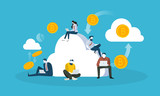Cloud mining. Flat design style web banner of blockchain technology, bitcoin, altcoins, cryptocurrency mining, finance, digital money market, cryptocoin wallet, crypto exchange.  - 192947374