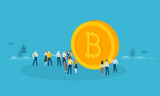 Bitcoin. Flat design style web banner of blockchain technology, bitcoin, altcoins, cryptocurrency mining, finance, digital money market, cryptocoin wallet, crypto exchange.  - 192947397
