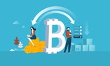 Bitcoin shopping. Flat design style web banner of blockchain technology, bitcoin, altcoins, cryptocurrency mining, finance, digital money market, cryptocoin wallet, crypto exchange.  - 192948188