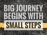Big journal begins with small steps words on Yellow line with asphalt road texture background.  - 192949568